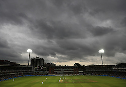 Dark clouds gather during West Indies and England on day one of the Third Investec Test match at Lord's, London.