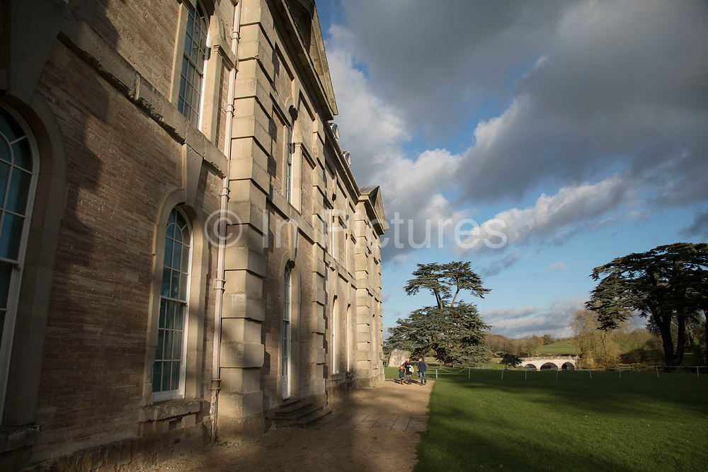 Exterior of the grounds and building of stately home Compton Verney in Kineton, United Kingdom. Compton Verney House is an 18th-century country mansion at Compton Verney near Kineton in Warwickshire, England, which has been converted to house the Compton Verney Art Gallery. The building is a Grade I listed house built in 1714 by Richard Verney, 11th Baron Willoughby de Broke.