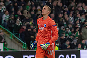 GOAL! Goal Keeper Karl-Johan Johnsson of FC Copenhagen celebrates as his team take the lead during the Europa League match between Celtic and FC Copenhagen at Celtic Park, Glasgow, Scotland on 27 February 2020.