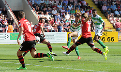 Yeovil Town's Harry Cornick scores his sides goal - Photo mandatory by-line: Harry Trump/JMP - Mobile: 07966 386802 - 08/08/15 - SPORT - FOOTBALL - Sky Bet League Two - Exeter City v Yeovil Town - St James Park, Exeter, England.