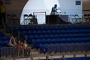Fans sit in the bleachers while a DJ plays music during a timeout in a WNBA preseason game between the Dallas Wings and the Connecticut Sun in Arlington, Texas on May 8, 2016.  (Cooper Neill for The New York Times)