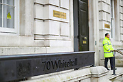 March 18, 2020, London, England, United Kingdom: General view of Cabinet Office at 70 Whitehall in London, after a Cobra meeting in London, Wednesday, March 18, 2020. For most people, the new coronavirus causes only mild or moderate symptoms, such as fever and cough. For some, especially older adults and people with existing health problems, it can cause more severe illness, including pneumonia. (Credit Image: © Vedat Xhymshiti/ZUMA Wire)