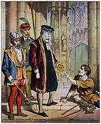 George Wishart (c1513-46) Scottish reformer and martyr. 19th century. burned for heresy at St Andrews, March 1546. Wishart on way to trial before Archbishop Beaton, giving his purse to a beggar. He found guilty and burned for heresy at St Andrews, March 1546. From John Foxe 'Foxe's Book of Martyrs'. (mid 19th century).  First edition published in 1554. Coloured lithograph.