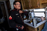 U.S. Marine Corps and Vietnam War veteran Manuel Valenzuela puts on his military uniform before visiting the New Mexico State Capitol Building in Sante Fe, New Mexico, Monday, September 24, 2018.<br /> <br /> Valenzuela and his older brother Valente, a U.S. Army and Vietnam War veteran, have been fighting deportation since 2009 for misdemeanor offenses which they completed sentences for. Their birth certificates classify them as resident aliens since their mother, a native from New Mexico, gave birth to them in México. Their deportation cases have been lingering in the courts. They might qualify as U.S. citizens as a result of their mother's citizenship status.