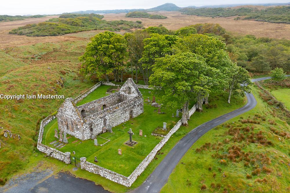 Aerial view of Kildalton Old Parish Church and churchyard containing Kildalton High Cross  on Islay, Inner Hebrides, Scotland UK