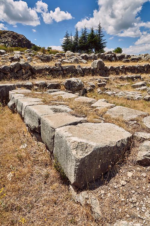 Dressed stone blocks of Temple I store room walls,Hattusa (also Ḫattuša or Hattusas) late Anatolian Bronze Age capital of the Hittite Empire. Hittite archaeological site and ruins, Boğazkale, Turkey.