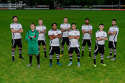 "Photoshoot of the selection 2020-2021, sat 1 of VV Maarssen with the Corona rule ""1.5 meters away"" on 16 June 2020, sports park Daalseweide in Maarssen."