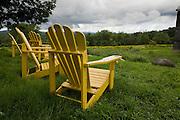 Adirondack chairs outside Sweetgrass Winery, Union, Maine.
