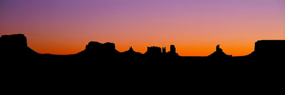 ARIZONA, MONUMENT VALLEY sandstone mesas at sunrise