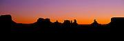 ARIZONA, MONUMENT VALLEY sandstone mesas at sunrise