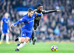 January 13, 2018 - London, England, United Kingdom - Chelsea's Eden Hazard battles for possession with Leicester City's Daniel Amartey..during the Premier League match between Chelsea and Leicester City at Stamford Bridge, London, England on 13 Jan t 2018. (Credit Image: © Kieran Galvin/NurPhoto via ZUMA Press)