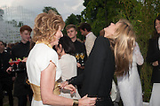 JULIA PEYTON-JONES; KATE MOSS, The Serpentine Summer Party 2013 hosted by Julia Peyton-Jones and L'Wren Scott.  Pavion designed by Japanese architect Sou Fujimoto. Serpentine Gallery. 26 June 2013. ,