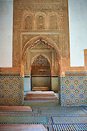 The arabesque architecture of the Saadian Tombs the 16th century mausoleum of the Saadian rulers, Marrakech, Morroco .<br /> <br /> Visit our MOROCCO HISTORIC PLAXES PHOTO COLLECTIONS for more   photos  to download or buy as prints https://funkystock.photoshelter.com/gallery-collection/Morocco-Pictures-Photos-and-Images/C0000ds6t1_cvhPo<br /> .<br /> <br /> Visit our ISLAMIC HISTORICAL PLACES PHOTO COLLECTIONS for more photos to download or buy as wall art prints https://funkystock.photoshelter.com/gallery-collection/Islam-Islamic-Historic-Places-Architecture-Pictures-Images-of/C0000n7SGOHt9XWI