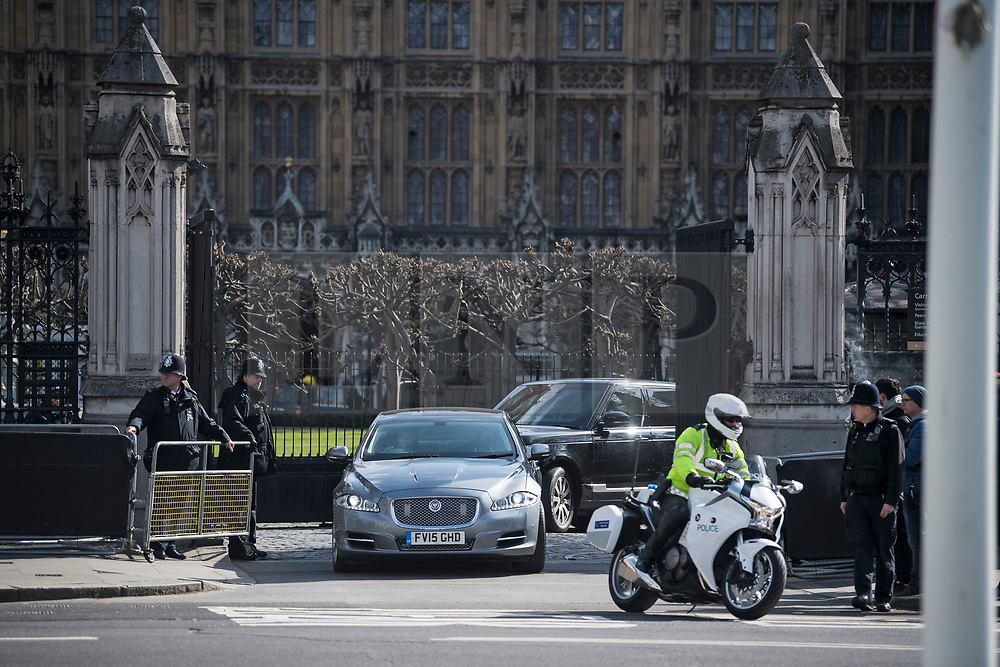© Licensed to London News Pictures. 22/03/2018. London, UK. British Prime Minister THERESA AMY is seen leaving via car at Carriage Gate at  the Houses of Parliament in Westminster, London on the one year anniversary of the Westminster Bridge Terror attack in which lone terrorist killed 5 people and injured several more, in an attack using a car and a knife. The attacker, 52-year-old Briton Khalid Masood, managed to gain entry to the grounds of the Houses of Parliament and killed police officer Keith Palmer. Photo credit: Ben Cawthra/LNP