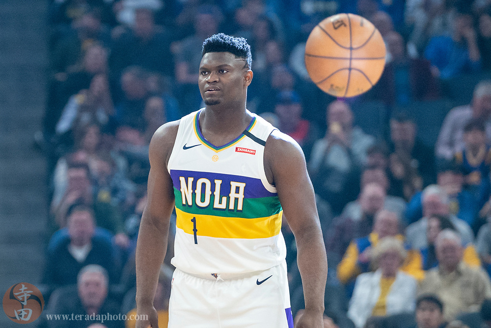 February 23, 2020; San Francisco, California, USA; New Orleans Pelicans forward Zion Williamson (1) before the game against the Golden State Warriors at Chase Center.