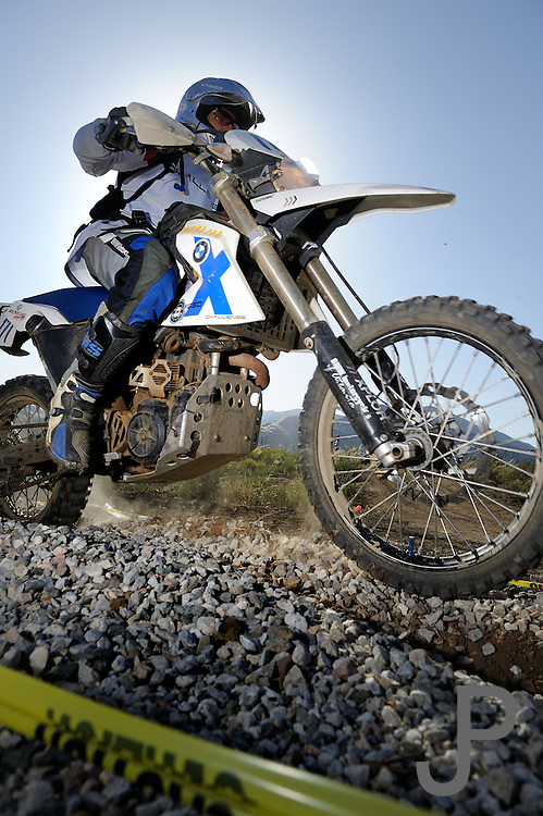 Helli Kornton on BMW motorcycle in competition at 2009 Rawhyde Adventure Rider Challenge