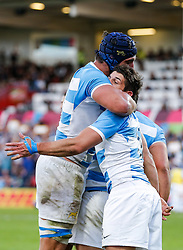 Argentina Scrum-Half Tomas Cubelli celebrates with Lock Tomas Lavanini (L) after scoring a try - Mandatory byline: Rogan Thomson/JMP - 07966 386802 - 25/09/2015 - RUGBY UNION - Kingsholm Stadium - Gloucester, England - Argentina v Georgia - Rugby World Cup 2015 Pool C.