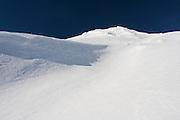 An empty trail at ski field Turoa. Turoa is located on active volcano Mount Ruapehu, New Zealand.