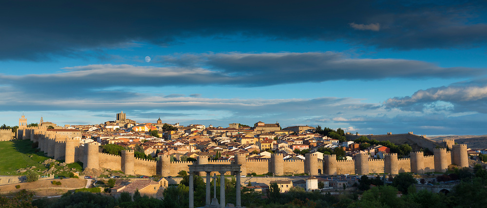 Famous old town of Avila with Extra-Muros churches and medieval city walls, UNESCO World Heritage Site, Spain
