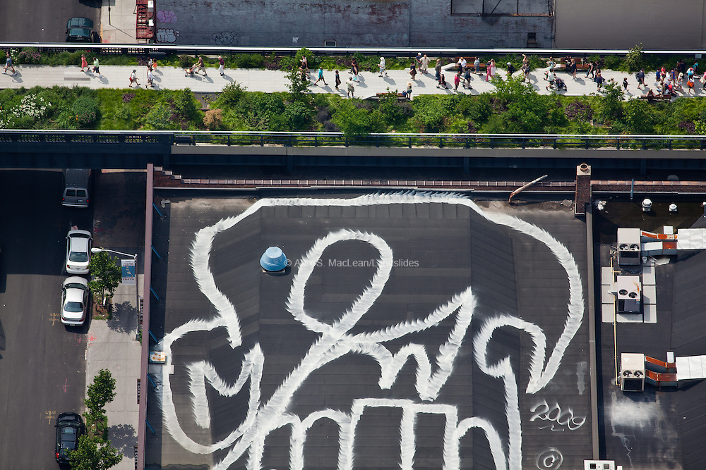 High Line Elevated Park, 169 10th Ave, Chelsea, Manhattan, NY, 10011, 40.746115,-74.005617, LOCATION: Rooftop graffiti on a black roof next to the HIgh Line.