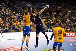 William Accambra and Kristian Beciri during handball match between RK Celje Pivovarna Lasko (SLO) and Paris Saint-Germain HB (FRA) in VELUX EHF Champions League 2018/19, on February 24, 2019 in Arena Zlatorog, Celje, Slovenia. Photo by Peter Podobnik / Sportida