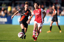Everton's Aurora Galli (left) and Arsenal's Mana Iwabuchi battle for the ball during the FA Women's Super League match at Meadow Park, Borehamwood. Picture date: Sunday October 10, 2021.