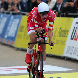 BRUGGES (BEL): CYCLING: September 18: <br /> Johan Price-Pejtersen is the new world champion time trial in the underage division. At the World Championship between Knokke-Heist to Bruges, the Danish rider was ten seconds faster than Australian Luke Plapp and eleven seconds faster than Florian Vermeersch of Belgium.