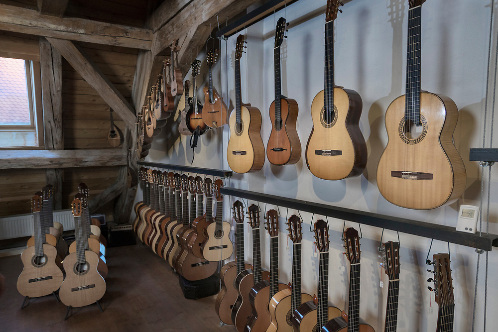 Guitars on display at music store
