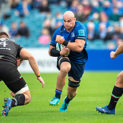 DUBLIN, IRELAND:  October 9:   Rhys Ruddock #8 of Leinster defended by Cristian Stoian #4 of Zebre during the Leinster V Zebre, United Rugby Championship match at RDS Arena on October 9th, 2021 in Dublin, Ireland. (Photo by Tim Clayton/Corbis via Getty Images)