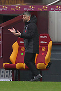 Stephen Robinson (Motherwell) doesn't look happy during the Scottish Premiership match between Motherwell and Celtic at Fir Park, Motherwell, Scotland on 8 November 2020.
