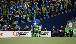 November 30, 2017 - Seattle, Washington, U.S - Soccer 2017: The Sounders and their fans celebrate the first goal of the game as the Houston Dynamo play the Seattle Sounders in the 2nd leg of the MLS Western Conference Finals match at Century Link Field in Seattle, WA. Seattle won the match and move on to the MLS Championship game in Toronto. (Credit Image: © Jeff Halstead via ZUMA Wire)