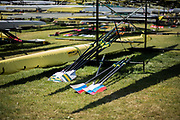 Lucerne, SWITZERLAND, 12th July 2018, Thursday General View, Boat Storage area, Racks, Slings, Oars, Blades, FISA World Cup III, Lake Rotsee, © Peter SPURRIER,