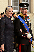 Religious wedding of Grand Duke Guillaume and Princess Stephanie at the Cathedral Notre-Dame in Luxembourg <br /> <br /> On the photo:  Princess Mette Marit and Prince Haakon