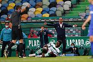 Petit irritated with referee during the Liga NOS match between Sporting Lisbon and Belenenses SAD at Estadio Jose Alvalade, Lisbon, Portugal on 21 April 2021.