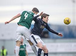 Hibernian's Paul Hanlon and Falkirk's Blair Alston. <br /> Falkirk 1 v 1 Hibernian, Scottish Championship game played 17/1/2015 at The Falkirk Stadium.