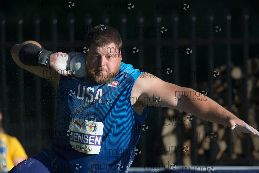 Toronto, ON -- 10 August 2018: Curtis Jensen (USA), shot put at the 2018 North America, Central America, and Caribbean Athletics Association (NACAC) Track and Field Championships held at Varsity Stadium, Toronto, Canada. (Photo by Sean Burges / Mundo Sport Images).