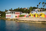 Brightly painted buildigs at the Ramora Bay Resort, Harbour Island, Eleuthera, The Bahamas