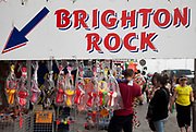 Sign for Brighton Rock. Rock is a type of hard stick-shaped boiled sugar confectionery  most usually flavoured with peppermint or spearmint. It is commonly sold at tourist  (usually seaside) resorts in the UK. Brighton, East Sussex.