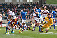 Bradford City defender Nat Knight-Percival (22)  ansd Rochdale Goalkeeper, Josh Lillis (1) during the EFL Sky Bet League 1 match between Rochdale and Bradford City at Spotland, Rochdale, England on 21 April 2018. Picture by Mark Pollitt.