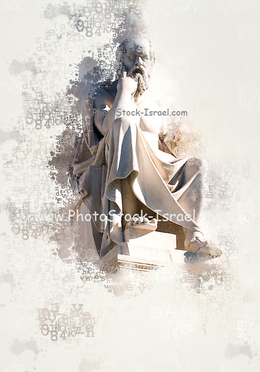 Digitally enhanced image of a Statue of the Greek Philosopher, Socrates at the Academy of Athens, Greece
