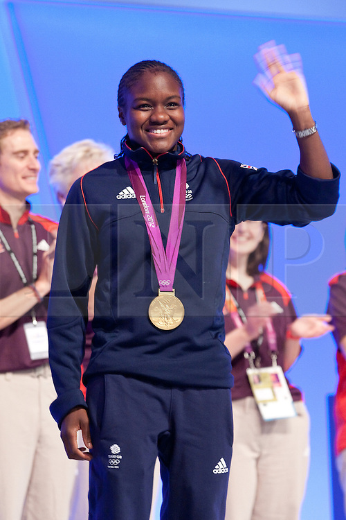 © Licensed to London News Pictures. 02/10/2012. Manchester, UK . Olympic gold medalist boxer Nicola Adams at the Team Great Britain session . Labour Party Conference Day 3 at Manchester Central . Photo credit : Joel Goodman/LNP