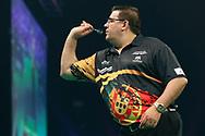 Jose de Sousa during the PDC Unibet Premier League darts at Marshall Arena, Milton Keynes, United Kingdom on 27 May 2021.