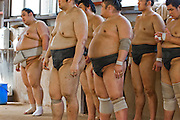 Masato Takeuchi (at left, his ring name is Miyabiyama), a sumo wrestler at the junior champion level (sekiwale)  with members of his team during practice a tournament in Nagoya, Japan. (Masato Tekeuchi is featured in the book What I Eat: Around the World in 80 Diets.) MODEL RELEASED.