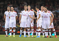 Football - 2019 (ICC) International Champions Cup (pre-season friendly) - Manchester United vs. AC Milan<br /> <br /> Maldini of Milan is consoled by team mates after missing his Penalty kick in the shoot out, which lost the match at The Principality (Millennium) Stadium, Cardiff.<br /> <br /> COLORSPORT/ANDREW COWIE
