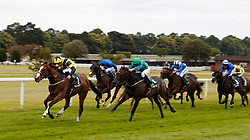 Haddaf (left) ridden by James Doyle comes home to win The Randox Health Scurry Stakes during Randox Health Gentlemen's Day at Sandown Park Racecourse, Esher.