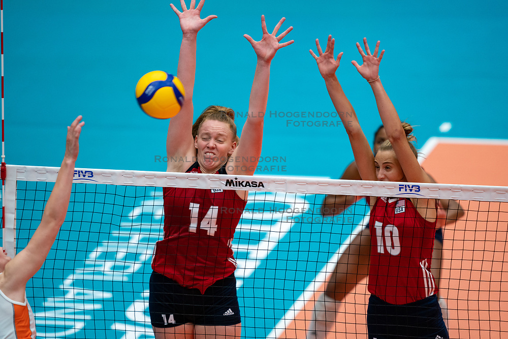 Emily Londot of USA, Reagan Hope of USA in action during United States - Netherlands, FIVB U20 Women's World Championship on July 15, 2021 in Rotterdam