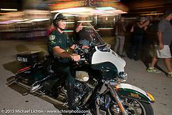 Saturday night in the Destination Daytona pavillion during the 2015 Biketoberfest Rally. Ormond Beach, FL, USA. October 17, 2015.  Photography ©2015 Michael Lichter.
