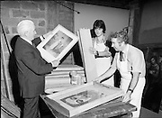 National Gallery preparing Paintings for Shipment to US.28/09/1976.09/28/1976.28th September 1976.Picture of National Gallery Staff preparing paintings for shipment. Gallery director Mr. James White (left) is pictured inspecting the paintings.
