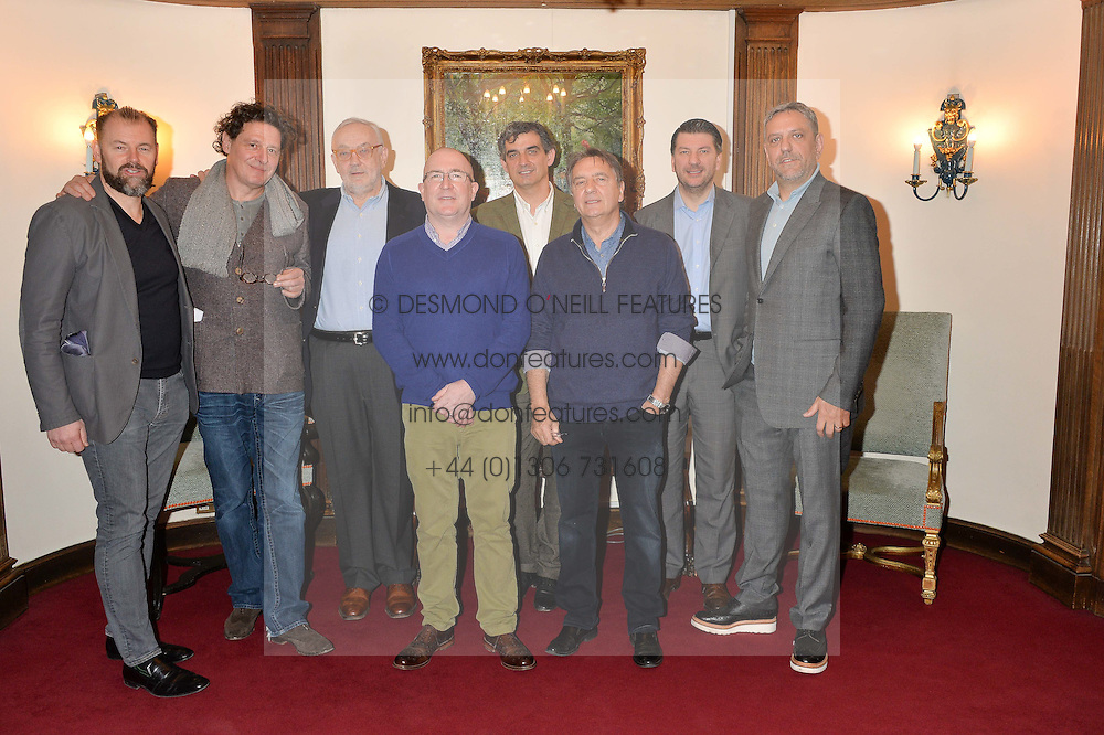 Left to right, chefs CHRIS GALVIN, MARCO PIERRE WHITE, PIERRE KOFFMANN, ROGER PIZEY, BRUNO LOUBET, RAYMOND BLANC, JEFF GALVIN and GIORGIO LOCATELLI at lunch at a lunch hosted by Fortnum & Mason, Piccadilly, London on 29th January 2015 in honour of Marco Pierre White and the publication of White Heat 25.