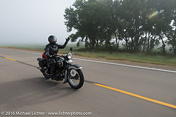 Sharon Jacobs riding her 1936 Harley-Davidson VLH during Stage 8 of the Motorcycle Cannonball Cross-Country Endurance Run, which on this day ran from Junction City, KS to Burlington, CO., USA. Saturday, September 13, 2014.  Photography ©2014 Michael Lichter.